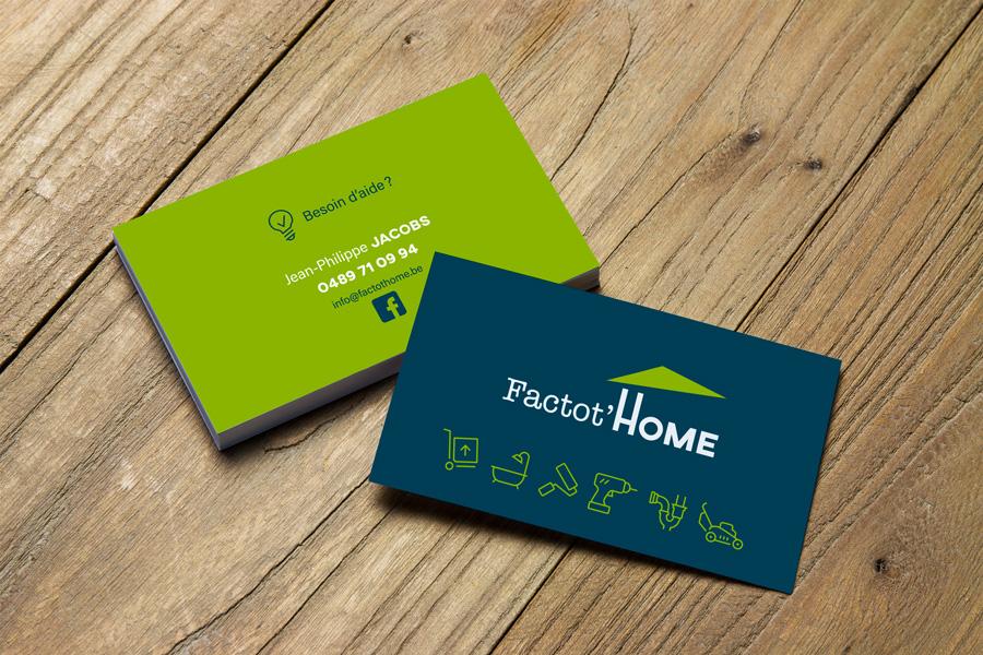 Graphic Plugin, studio de graphisme à Liège : Projet : Carte de visite et logo pour Factot'Home