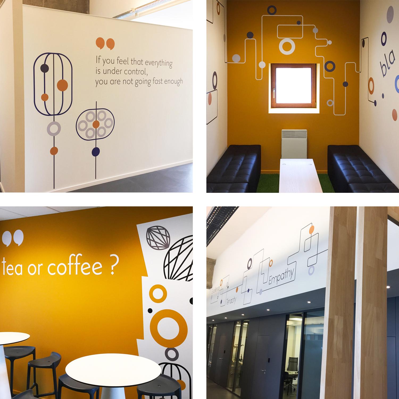 Graphic Plugin, studio de graphisme à Liège : Projet : Signalétique des bureaux de Gambit pour Intérieur 9